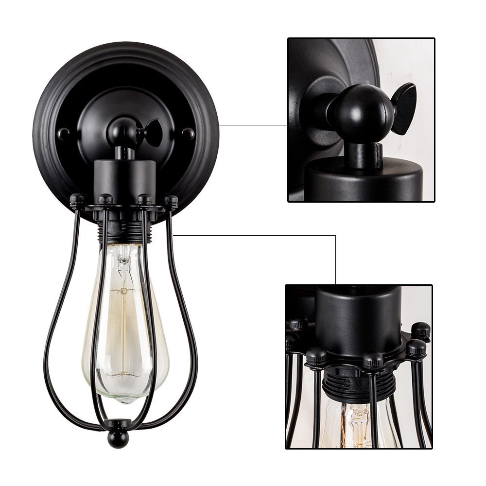 XZANTE Retro applique murale industrielle luminaire reglable en metal cage lampe murale interieure maison retro lampe noir