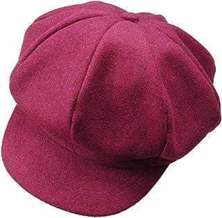 HugeStore Baby Toddlers Newsboy Cap Berets Beanie Hat Cap Peaked Hat Cap for Boys Girls Deep Red
