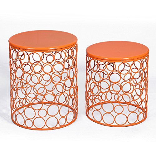 Bubble End - Adeco Home Garden Accents Circle Wired Round Iron Metal Nesting Stool Side End Table Plant Stand, Bubble Pattern, Orange Red, Set of Two