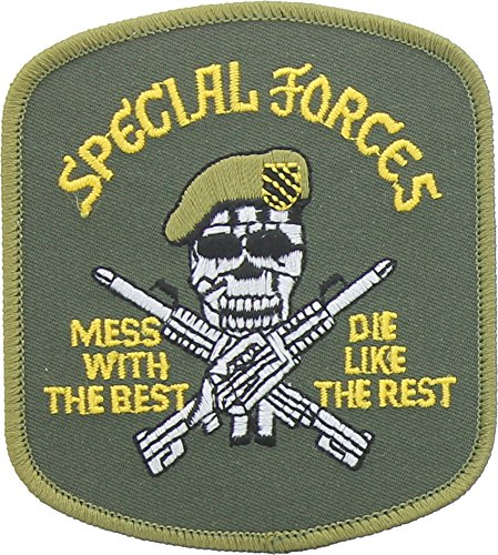 USMC Special Forces Mess With The Best Skulls & Crossbones Military Iron On Sew On Patch
