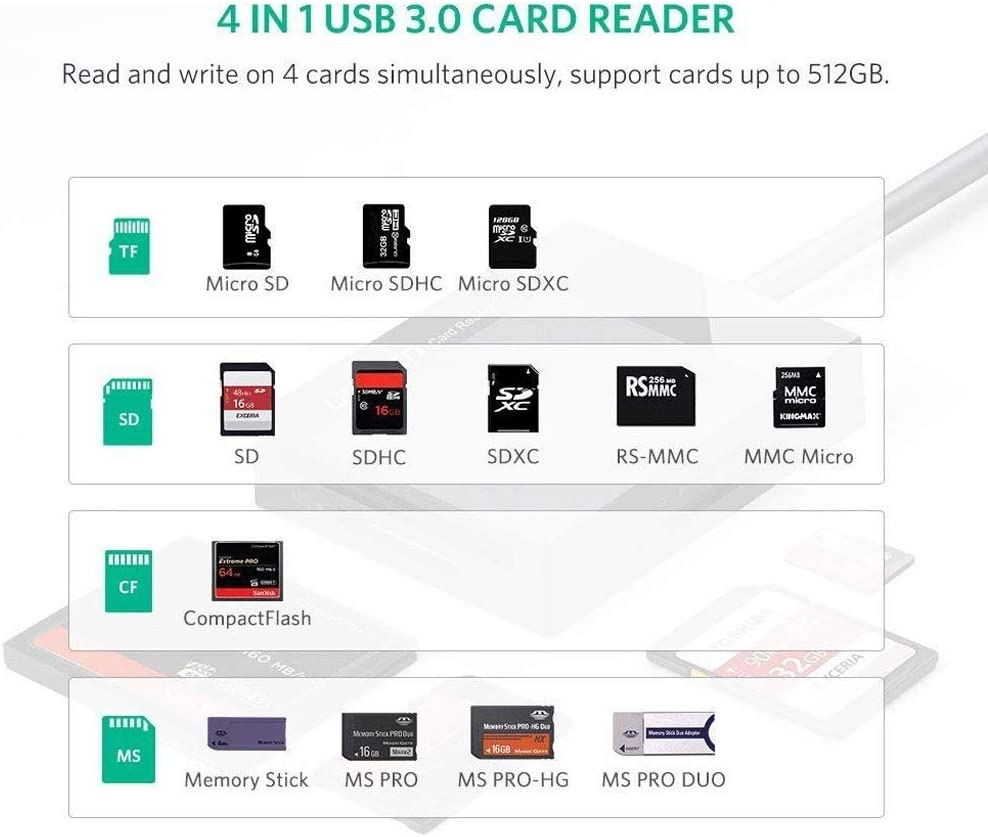 Windows 10 Compatible with MacBook Color : A Linux SD Card Reader USB 3.0 CF Memory Card Adapter Hub LSio 5Gbps Read