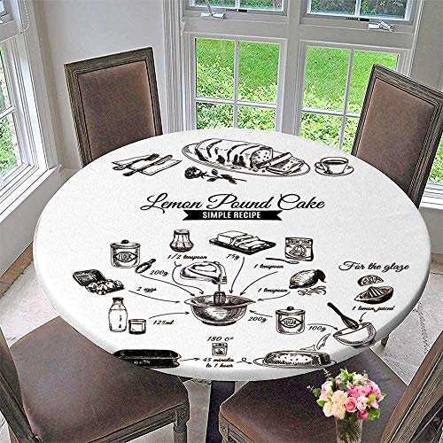 Luxury Round Table Cloth for Home use Vector Drawn Lemon Cake Sketch Simple Lemon Cake Recipe for Buffet Table, Holiday Dinner 35.5