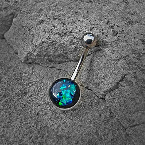 Green Opal Glitter Set On Clear Acrylic Ball Free Shipping 316L surgical Steel Belly Button Navel Rings ()