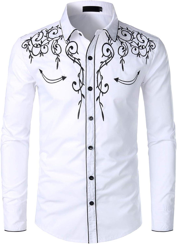 Elegante camisa vaquera para hombre, diseño bordado, corte ...