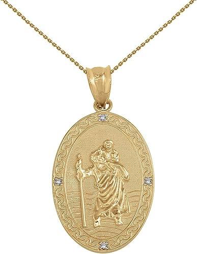 14k Yellow Gold Lightweight Saint Christopher Medal Pendant