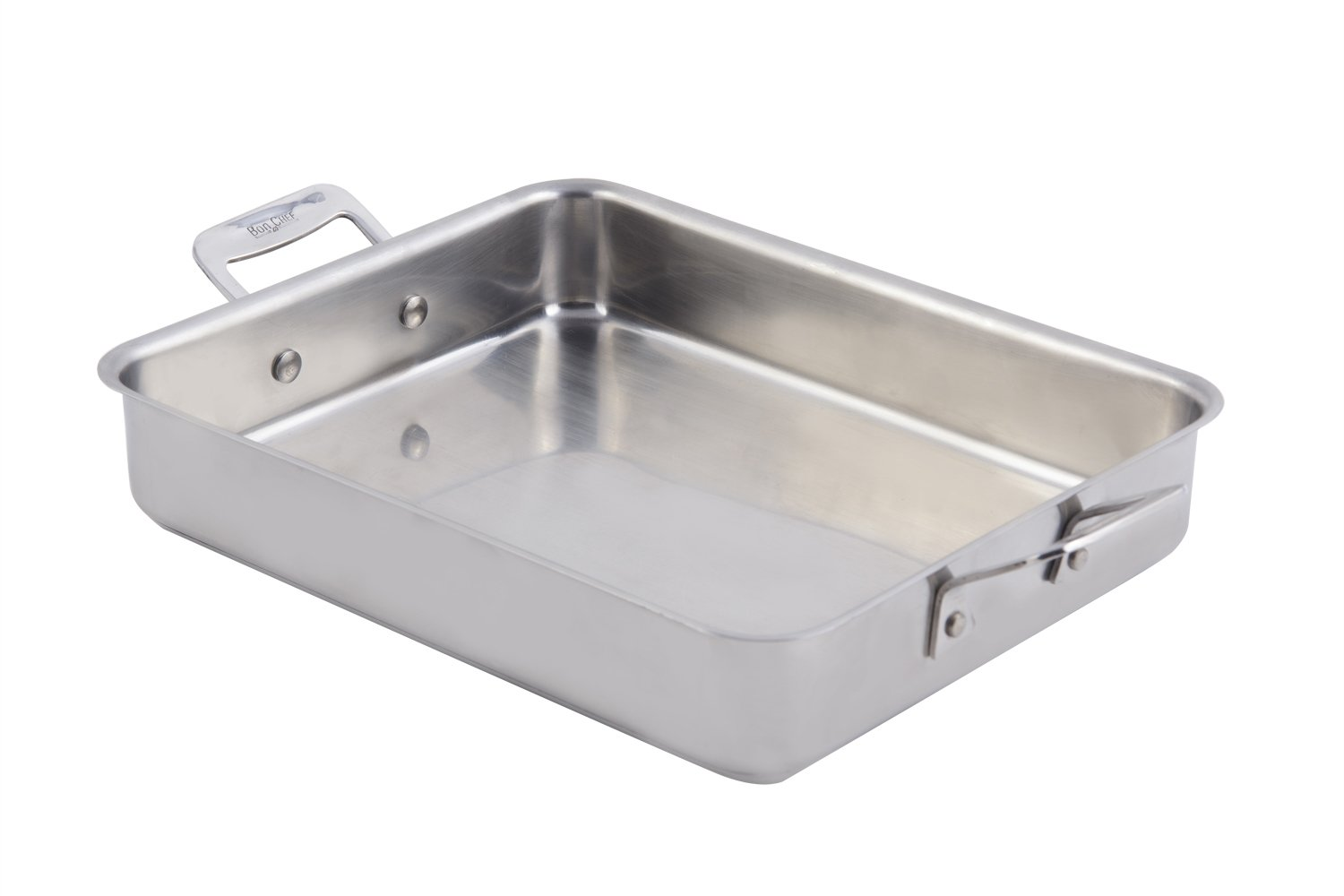 Bon Chef 60013CLD Stainless Steel Induction Bottom Cucina Small Square Pan, 3 quart Capacity, 11-1/2'' Length x 9-1/4'' Width x 2-1/2'' Height