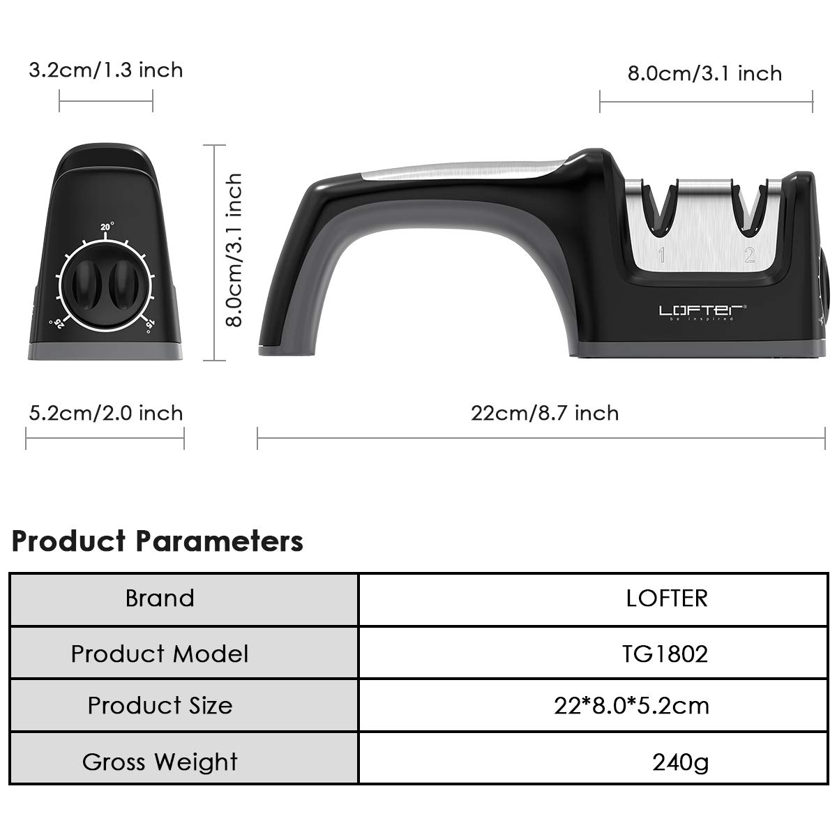 Kitchen Knife Sharpener, LOFTER 2 Stage Knife Sharpening with Angle Adjustment Knob, Diamond and Ceramic, Restore and Polish Blades, Non-slip Base Sharpening Knife, Easy to Control, Black by LOFTER (Image #6)