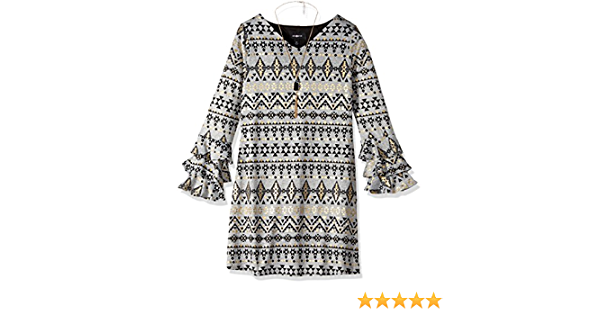Amy Byer Girls Big Tiered Sleeve Knit Top with Necklace