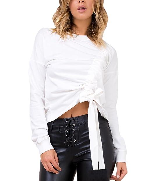 Mujer Camisetas Blancas Manga Larga Basicas Elegantes Cortas T Shirt Invierno Otoño Moda Casual Sudaderas Cuello