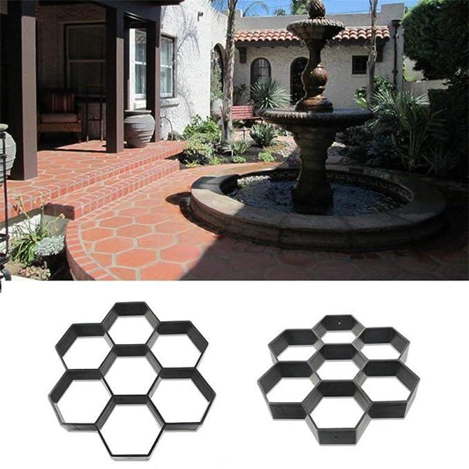 Uteruik - Molde Hexagonal para hormigón de jardín, para pavimento, Cemento, ladrillo, Piedra, Carretera, Camino de Camino (29 x 30 cm): Amazon.es: Hogar