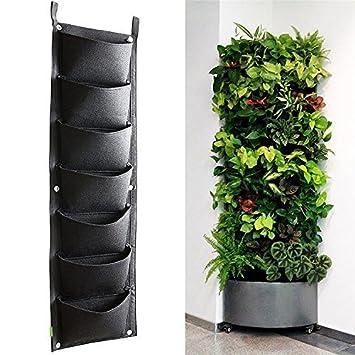 Plantar Bolsas, XGZ 7 bolsillo vertical montado en la pared mimbre planta de jardín macetas crecer bolsas bolsa bolsas de flores colgantes para fresa ...