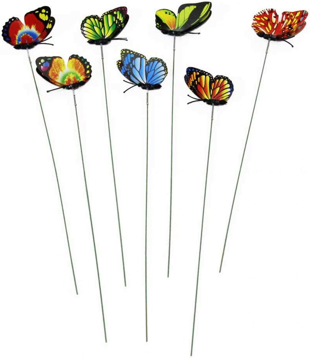 BWWNBY 10pcs On Sticks Artificial Garden Decor Craft Outdoor Yard Lawn Butterfly Stakes