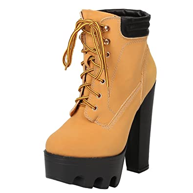 d6ef596f57 Wild Diva Womens Round Toe Lace Up Lug Sole Platform Chunky High Heel  Booties Boot 8