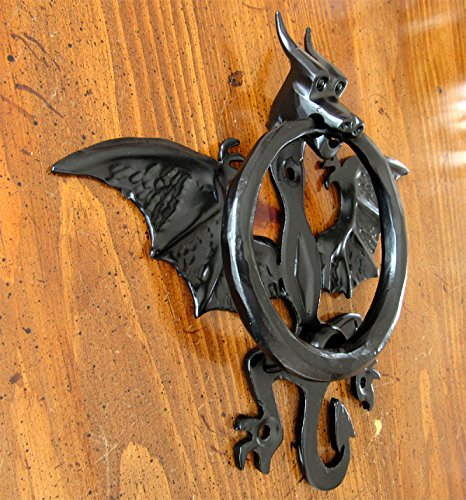 Dragon Door Knocker with spread wings and horns, black powder coat finish