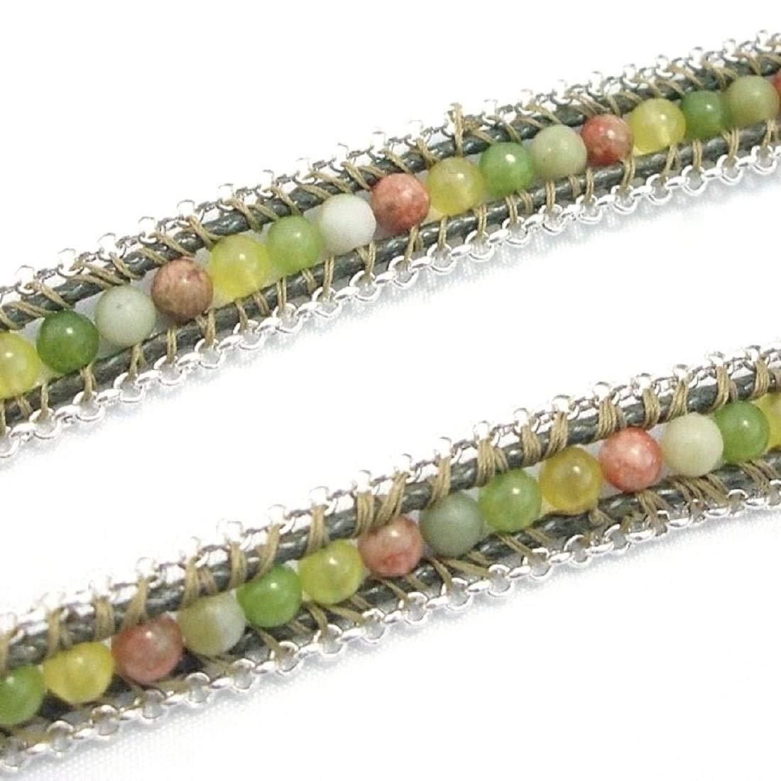 AeraVida Green Leather Mix Stones Chain Link Triple Wrap Bracelet by AeraVida (Image #2)