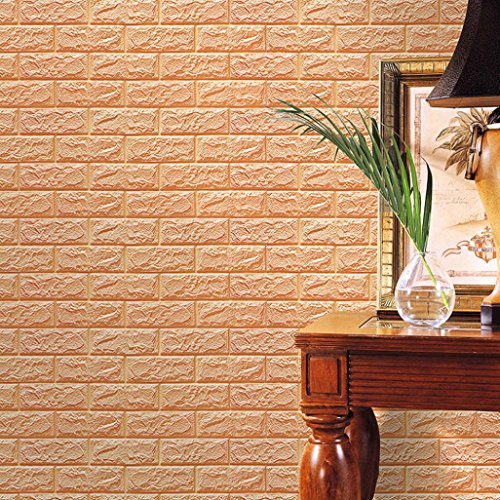 Dreaman PE Foam 3D Wallpaper DIY Wall Stickers Wall Decor Embossed Brick Stone (Khaki)