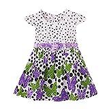 Newborn Toddler Baby Girls Dot Butterfly Print Flower CasualDress Clothes Purple