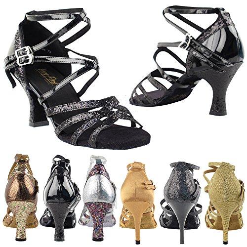 50 Tinten 5008 Comfort Avondjurk Pump Sandalen, Dames Ballroom Dansschoenen (2,5, 3 & 3,5 Hoge Hakken) Black Sparkle & Black Patent