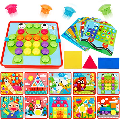 JoyGrow Button Art Color Matching Mosaic Pegboard Set Toddler Toys Color & Geometry Shape Cognition Skill Learning Educational Toys for Boys Girls (72 PCS Buttons and 24 templates - Art Old One Toys For Year