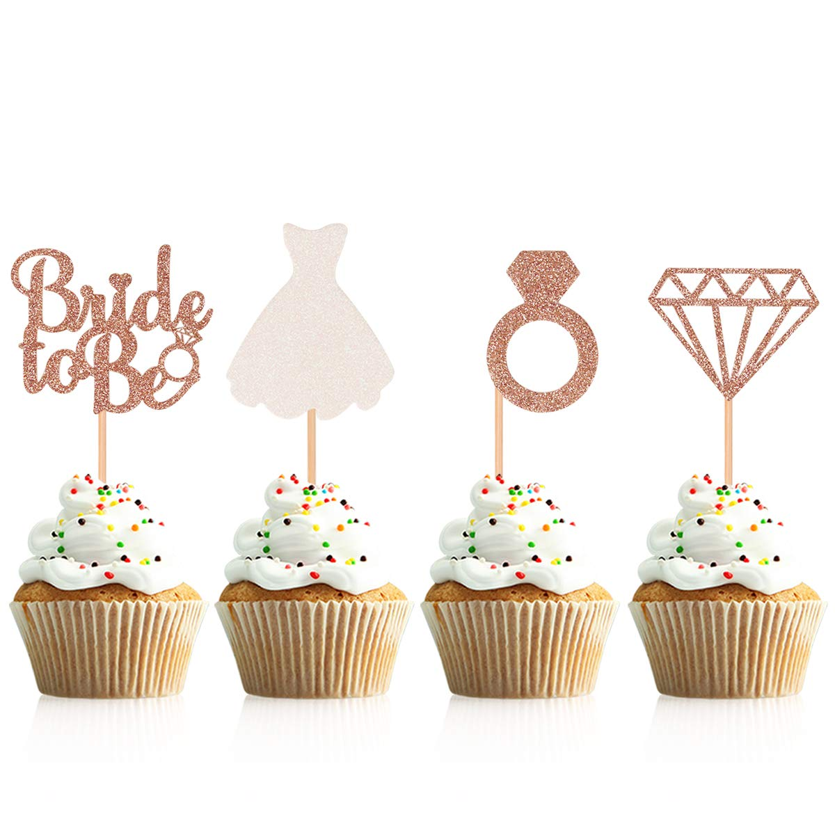 Donoter 48 Pcs Glitter Bride to be Cupcake Toppers Diamond Ring Wedding Dress Cupcake Picks for Wedding Engagement Bridal Shower Party Decorations