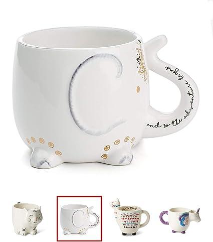 d1c6d9d8b White Ceramic Coffee or Tea Mugs  Tri-Coastal Design Elephant Coffee Mug  with Hand