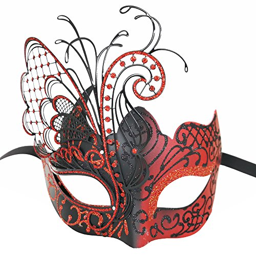 CCUFO Masquerade Venetian Luxury Face Mask for Women Metal Sparkling Butterfly | Party, Ballroom, Fancy Prom, Mardi Gras, Wedding, Wall Decoration (Red/Black Butterfly) -