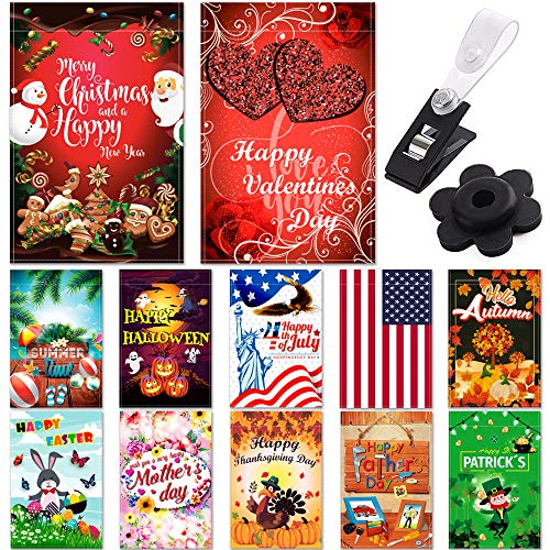 """Seasonal Garden Flag Set of 12 Pack – 12 """"x 18"""" for Double-sided Outdoors Lawn Decor – Polyester Premium Assortment Holiday Yard Flags Set and Festive small Garden Flag to Bright Up Your 12 Months Review"""