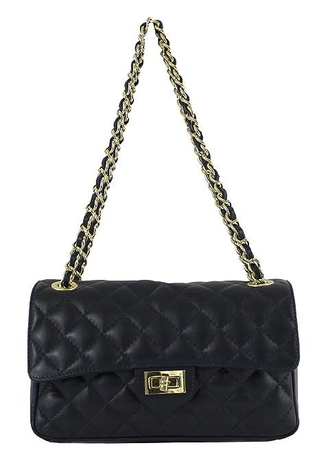 CTM Bolsa de Mujeres con estilo, cuero acolchado, 27x17x9cm, cuero genuino 100% Made in Italy: Amazon.es: Zapatos y complementos