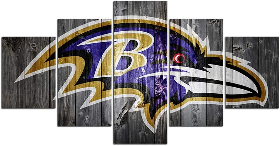 Baltimore Ravens Poster Wall Decor for Home Painting 5 Piece Canvas Prints Wall Art Picture Modern Decoration for Bedroom Poster with Frame Ready to Hang(60''Wx32''H)