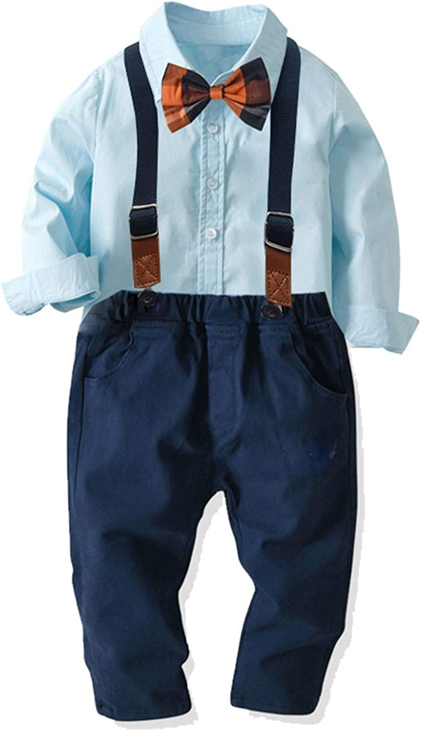 Suspender Pants 4 pcs Formal Outfit Suit Clothes CHRONSTYLE Little Boys Long Sleeve Gentleman Outfit Suits SetDress Shirt with Bowtie