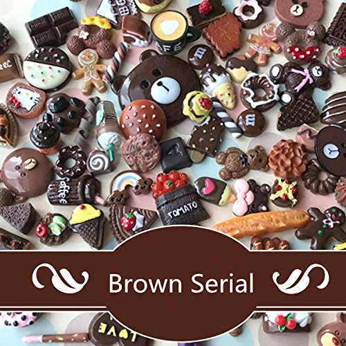 Deco Chocolate - DECO LOVE 50PSC Slime Charms Mixed Food and Cartoon Cabochons Flatback Resin Embellishments Dark Chocolate Serial