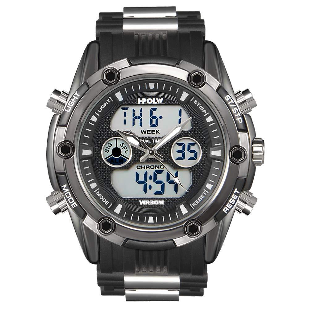 Reloj Deportivo analógico Digital Resistente al Agua para Hombre, cronógrafo Militar, Correa de Silicona clásica: Amazon.es: Relojes