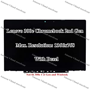"""Replacement 11.6"""" HD 1366x768 LCD LED Display Touch Screen Digitizer Bezel Assembly for Lenovo 300e Chromebook 2nd Gen 81MB"""