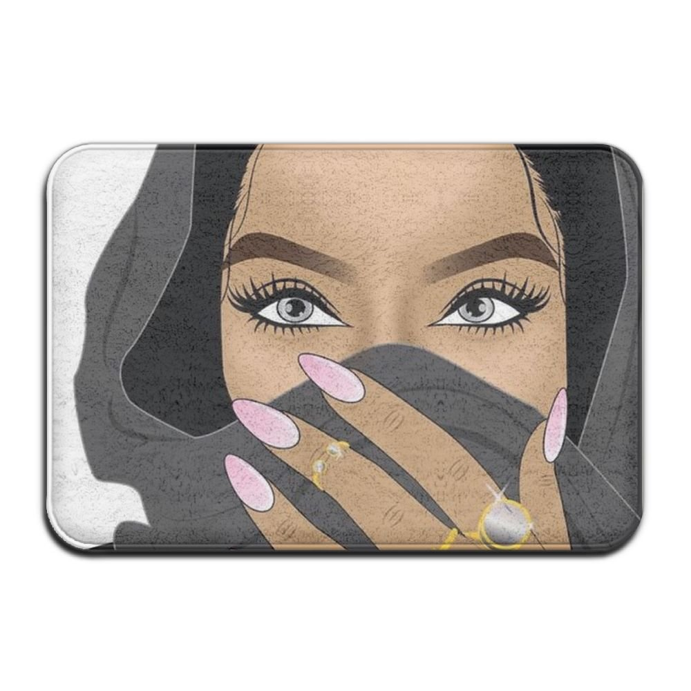 1 Piece Smart Dry Memory Foam Bath Kitchen Mat For Bathroom - Afro Lady African American Black Woman Art Shower Spa Rug 18x30 Door Mats Home Decor With Non Slip Backing - 3 Sizes