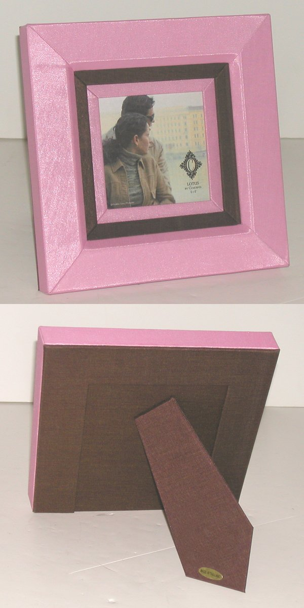 Concepts in Time B147244PK Thai Frame with Folded Corners and a Double Silk Covered Mat Around Photo Opening