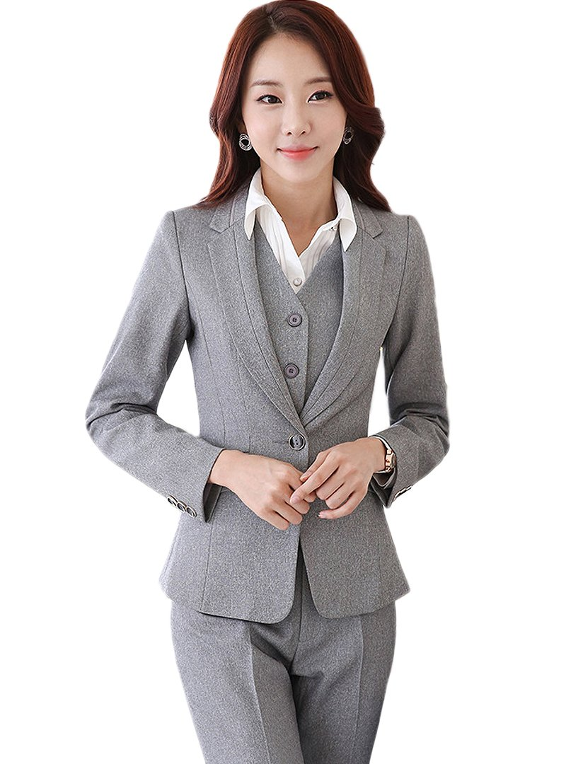 uruoi New Year Gift Women's Two Piece Office Lady Blazer Business Prosfessional Suit Set Gray S