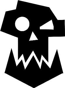 "WAR HAMMER 40K ORK LOGO WARHAMMER VINYL STICKERS SYMBOL 5.5"" DECORATIVE DIE CUT DECAL FOR CARS TABLETS LAPTOPS SKATEBOARD - BLACK"