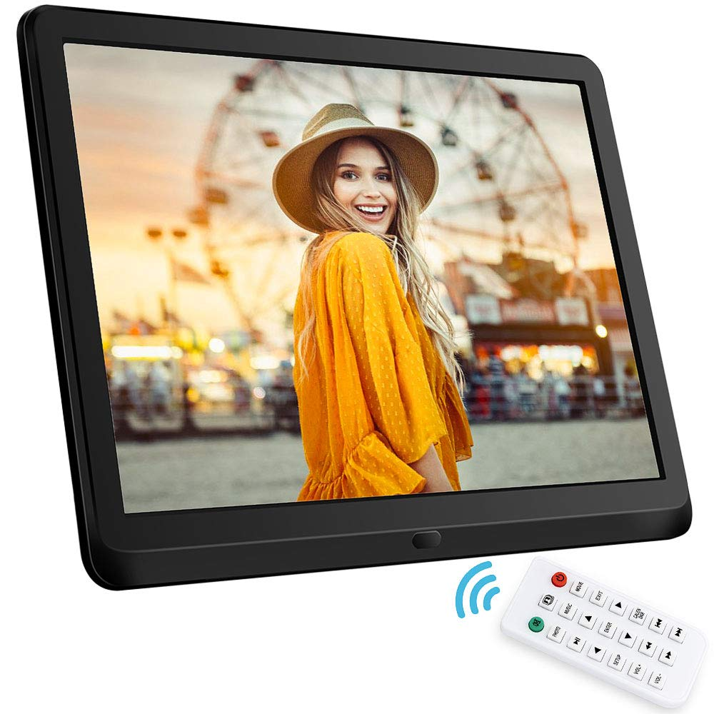 NAPATEK 10 Inch Digital Picture Frame 16:9 1920x1080 IPS Display Digital Photo Frame 1080P HD Video Playback Music Calendar Alarm Remote Control Support 128G SD-Black
