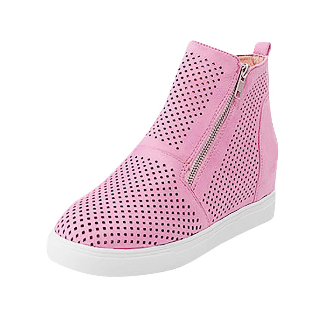 Shusuen Women Preforated Slip On Sneakers Casual Zipper Shoes Pink