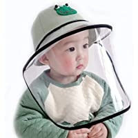 MEGICOT Baby 5-14 Months Protective Hats with Detachable Safety Face Shield, Anti-Fog Anti-saliva Anti-Spitting Full Face Guard Protection Sunhat for kids (Green)