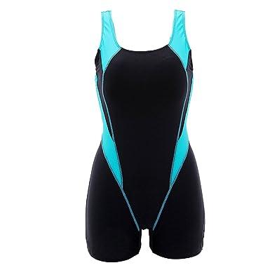 new products bb063 cc0f4 KYL Damen Badeanzug mit Bein Sport Schwimmanzug