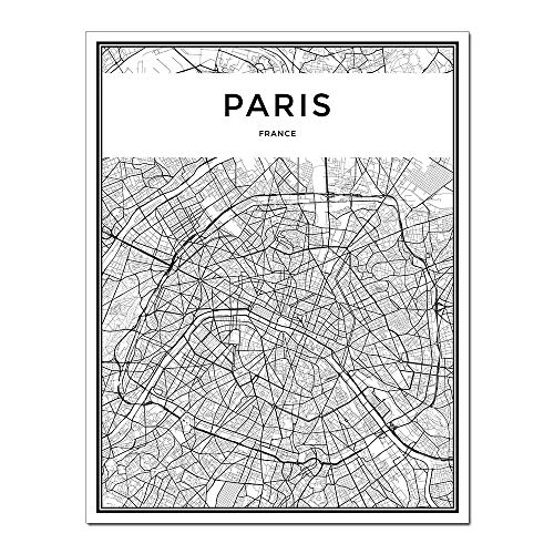 DUNHUANGART- Framed Wall Art Linear City Map Painting Nordic Minimalist Style Poster Paris Aerial View Canvas Artwork Living Room Decor 1 Pcs
