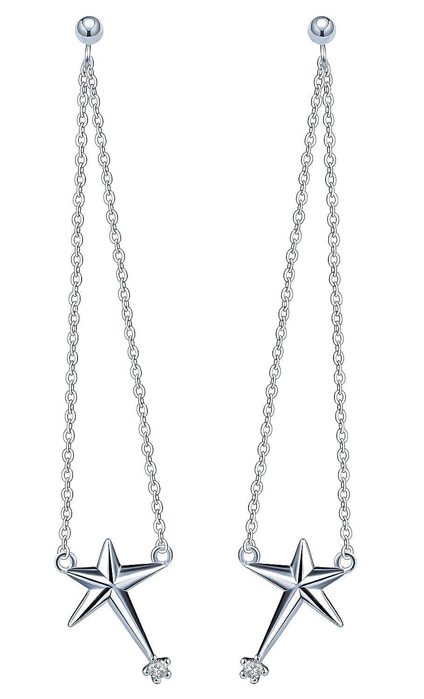 Infinite U Girls 925 Sterling Silver Cubic Zirconia Star Stud Dangle Drop Earrings Silver