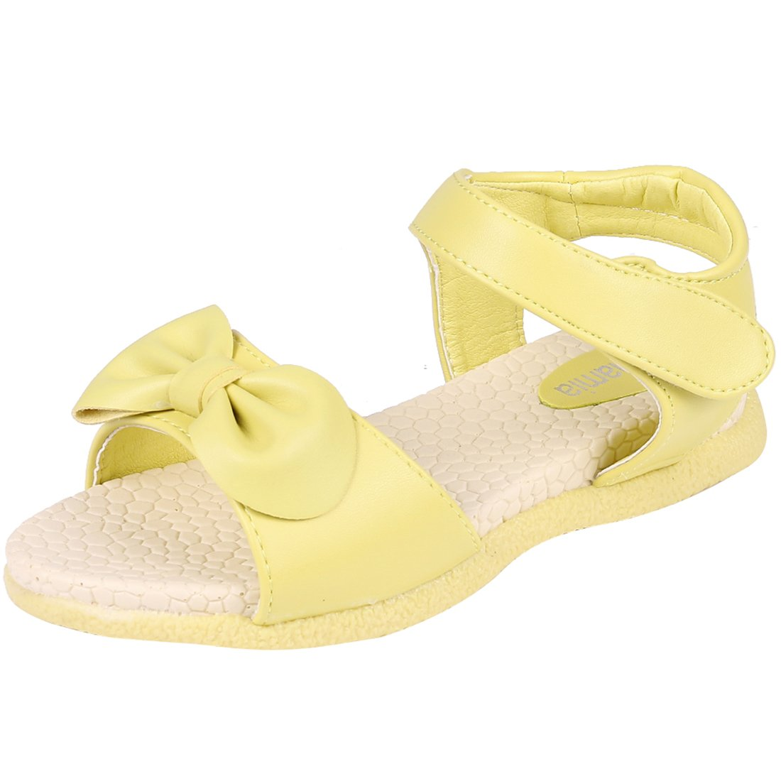 Kids Girl's Bow Yellow Open Toe Flat Strap Leather Sandals (Toddler/Little Kid/Big Kid)