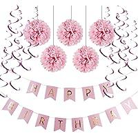 WANFULDA Pink Paper Decoration Set (Happy Birthday Banner,Foil Swirls,Pom Poms) for Girls Boys Birthday Party First Birthday