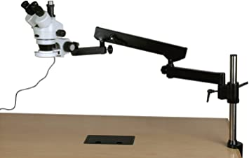 AmScope SM-8TZ-144S Professional Trinocular Stereo Zoom Microscope WH10x Eyepieces 0.7X-4.5X Zoom Objective 144-Bulb LED Ring Light 3.5X-90X Magnification Articulating-Arm Boom Stand 110V-240V Includes 0.5x and 2.0x Barlow Lenses