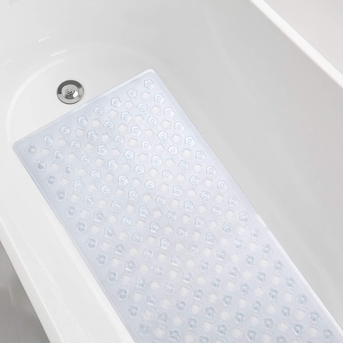AmazerBath Bath Tub Mat, Non-Slip Shower Mats with Larger Pentagonal Drain Holes, Quick Drying, Machine Washable, 35 x 16 Inches (Clear): Home & Kitchen