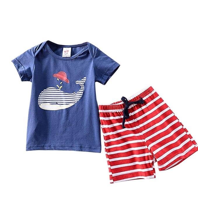 fcdaa94c67f7f Amazon.com  DIGOOD Toddler Baby Boys Cartoon Print T-Shirt Tops+Short Pants