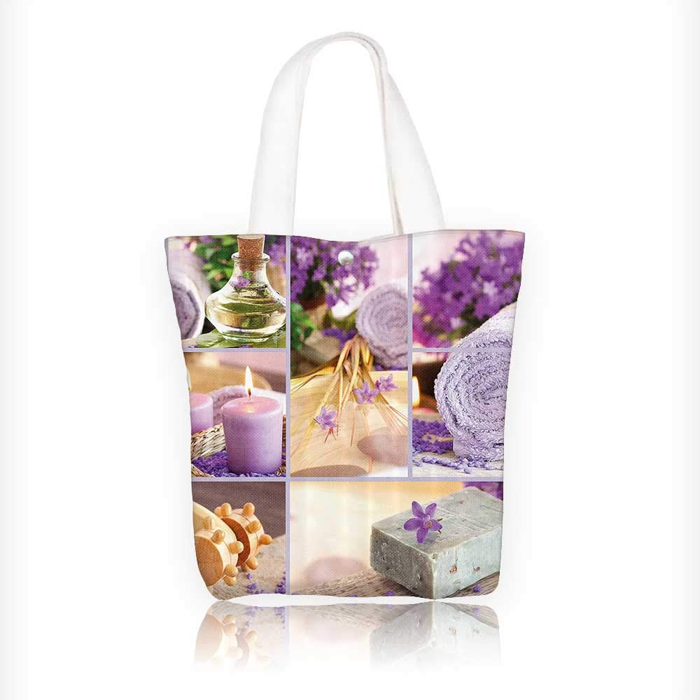 Ladies canvas tote bag Lavender Themed Relaxing Joyful Spa with Aromatherapy Oils and Candles Bathroom reusable shopping bag zipper handbag Print Design W11xH11xD3 INCH