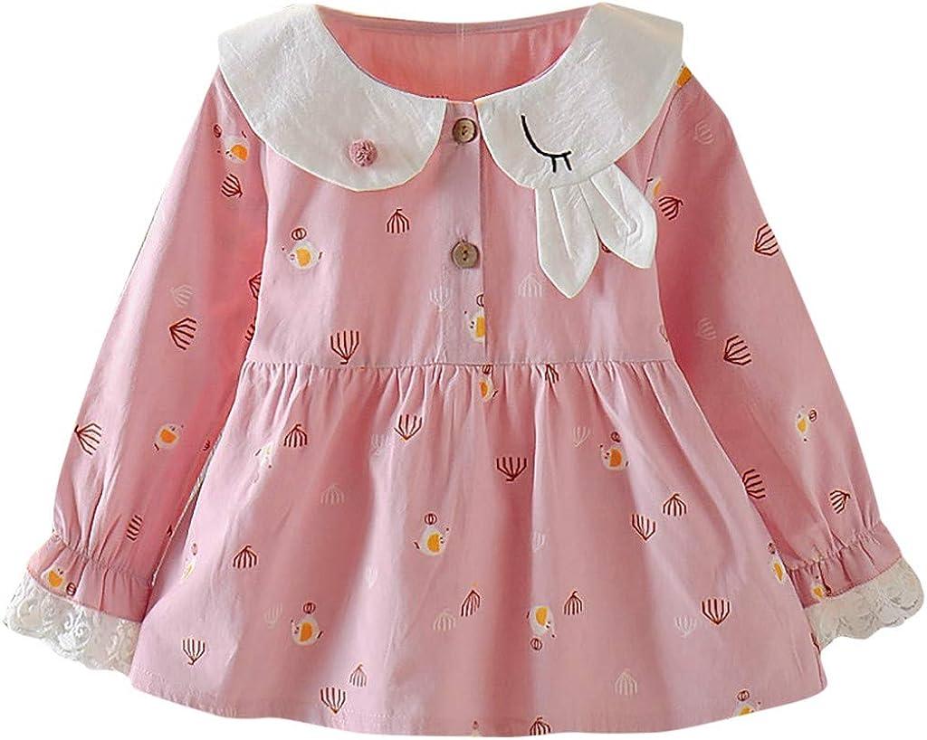 3 Monate 3 Jahre alt Sayla Baby Kinder Kleinkind M/ädchen Kleidung Prinzessin Kleid M/ädchen Langarm Fr/ühling Bandage Anzug Mini Kleid Revers Knopf Enge Manschetten Prinzessin Kleid